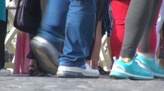 Pedestrian legs group people standing tourist waiting tourist street line city  Stock Footage