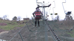 Woman in ropeway in mountain Stock Footage