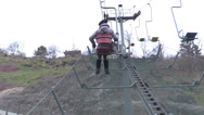 Stock Video Footage of Woman in ropeway in mountain