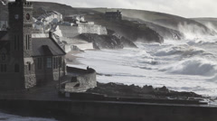 Storm waves in Porthleven Stock Footage
