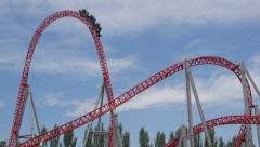 SLOW MOTION: People riding the roller coaster Stock Footage