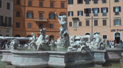 Piazza Navona city square Neptune fountain artezian well statue sculpture Rome Stock Footage