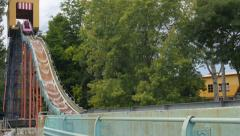 SLOW MOTION: Water attraction in amusement park Stock Footage