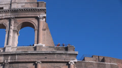 Close up detail tourist visit Great Colosseum  colosseo coliseum ancient Rome Stock Footage