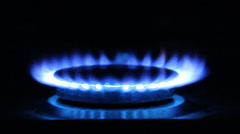 Gas flame. Natural Gas Of a gas stove Stock Footage