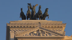 Closeup detail Monument Victor Emmanuel II horse statue iconic Rome structure Stock Footage