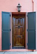 charleston pink house doorway - stock photo