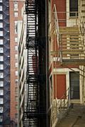 evacuation building stairs - stock photo