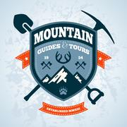 Mountain emblem - stock illustration