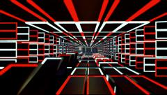 Vj Loops Red White Line Hallway Extension - stock footage