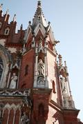 decorative spire of st joseph's church, krakow - stock photo