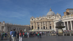 Timelapse crowd people Rome San Pietro square church Vatican attraction icon Stock Footage