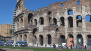 Stock Video Footage of Pan right panorama Great Colosseum forum  famous Rome Italy ancient arena wall