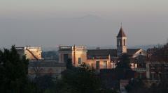 Roman church on misty day Stock Footage