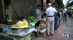 Market in the small streets of China town bangkok Stock Footage