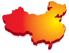 3d map of china Stock Illustration