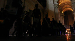 Brass band play towards Vatican at night Stock Footage