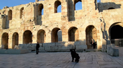 Tourists posing for photos, in front of Ancient Theater Stock Footage