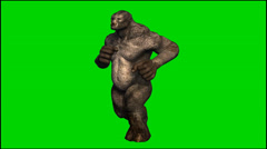 Trolls Mythical Fantasy Creature run - seperated on green screen Stock Footage
