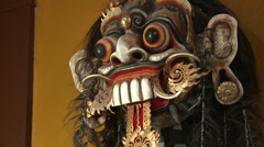 Bali Indonesia Barong Mask Hindu Religion Zoom In Stock Footage