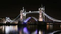 London Tower Bridge Opens & Closes, Raised & Lowered. 4K / UHD Stock Footage