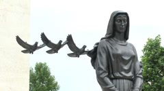 "Sculpture of ""The Mourning Woman"", Netherlands American Cemetery, Netherlands. Stock Footage"