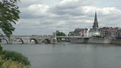 Sint Servaasbrug (St. Servatius Bridge) in Maastricht, Limburg, the Netherlands. Stock Footage
