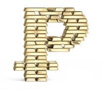 Bitcoin symbol from gold bars - stock illustration
