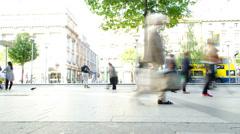 Crowd Of People Walking On City Street Sidewalk Timelapse Stock Footage