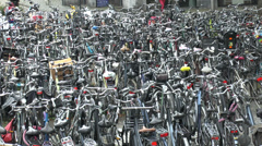 Bicycle park in Maastricht, Limburg, The Netherlands. Stock Footage