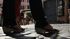 Close up feet, prostitute - stock footage