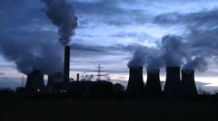 Power Station Cooling Towers With Steam Stock Footage