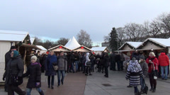Annual city christmas fair at cathedral square and people Stock Footage