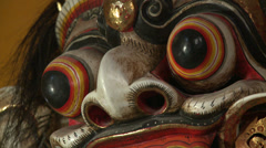 Bali Indonesia Barong Mask Hindu Religion Close Up Stock Footage