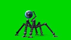 Alien Tripod machine walk - seperated on green screen Stock Footage