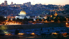 Overview of Old City in Jerusalem, Israel with The Golden Dome Mosque Stock Footage