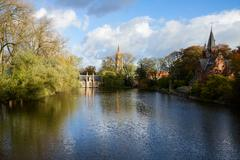 Minnewater pond , brugge Stock Photos
