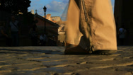 Stock Video Footage of Close up feet,  Ancient city, Rome (slowmotion)