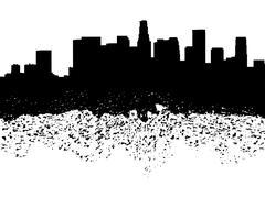 los angeles skyline grunge silhouette illustration - stock illustration
