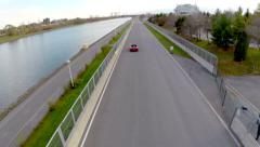 Aerial Car Racing - Red Car 11 - Ferrari Stock Footage