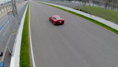 Aerial Car Racing - Red Car 03 - Audi Stock Footage