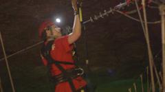 Louisville Megacavern Cave Ziplining Stock Footage