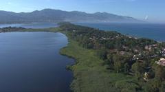 Aerial corsica pond marana bastia Stock Footage