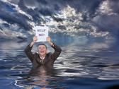 Senior man holding help me paperwork in water Stock Illustration
