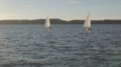 Sailboats on Lake Stock Footage