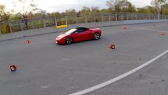 Aerial Car Racing - Red Car 09 - Lamborghini Stock Footage