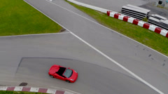 Aerial Car Racing - Red Car 01 - Lamborghini Stock Footage
