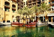 Stock Photo of view of the souk madinat jumeirah and abra boats, dubai, uae