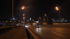 Kyiv's  cars traffic at night (Timelapse) Stock Footage
