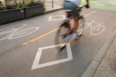 Bicycle Lane, Downtown Vancouver Stock Photos